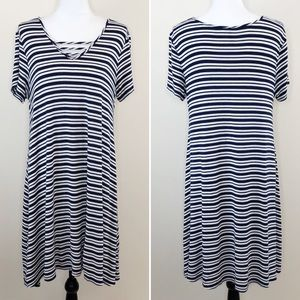 New Directions Tee Shirt Dress Striped Navy Blue L